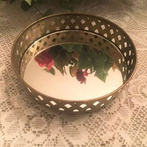 Other - Rare Vtg Round Mirror Jewelry Tray Metal Cut-Outs